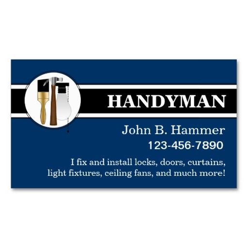 Handyman Business Cards. Make your own business card with this great ...
