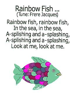 Rainbow Fish song.  Great book, maybe could compose a different melody to use on Orff instruments.