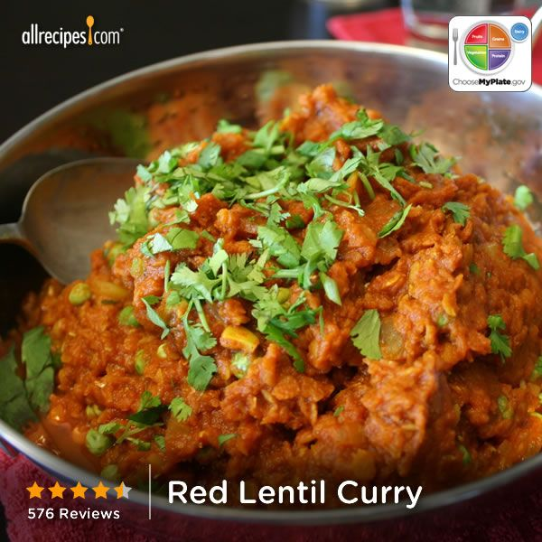 Red Lentil Curry from Allrecipes.com #myplate #protein #veggies