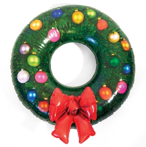 Forget the homemade ornament wreaths- heres a blow up christmas wreath!!!