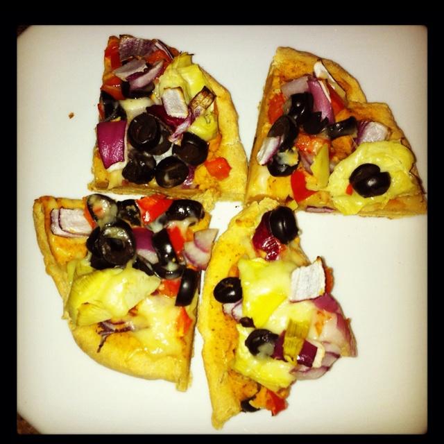 ... onion, red pepper, black olives, artichoke hearts & soya mozza. Dinner