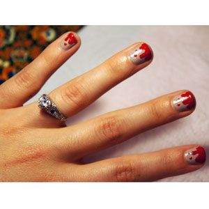 Blood-Spattered Halloween Inspired Nails