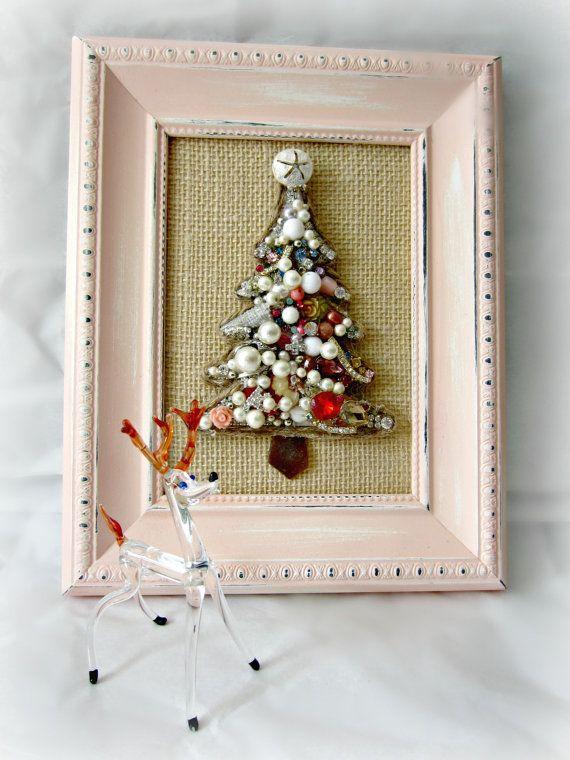 Christmas tree wall art jewelry mosaic wall decor shabby holiday