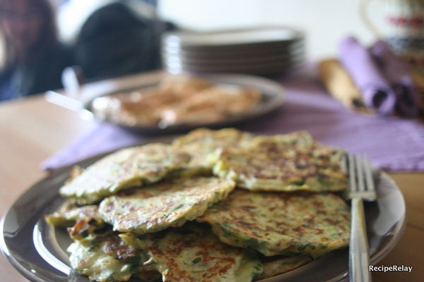 Leek Pancakes with Spiced Fillet of Salmon & Creamy Herb Garlic Sauce ...