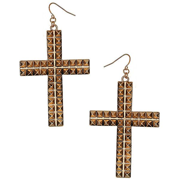 Stud Cross Earrings ($25) liked on Polyvore