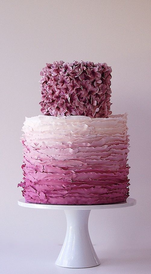 Ombre Ruffled Wedding Cake