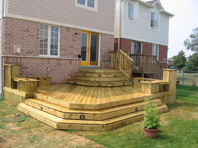 Wrap around steps for High elevation deck plans