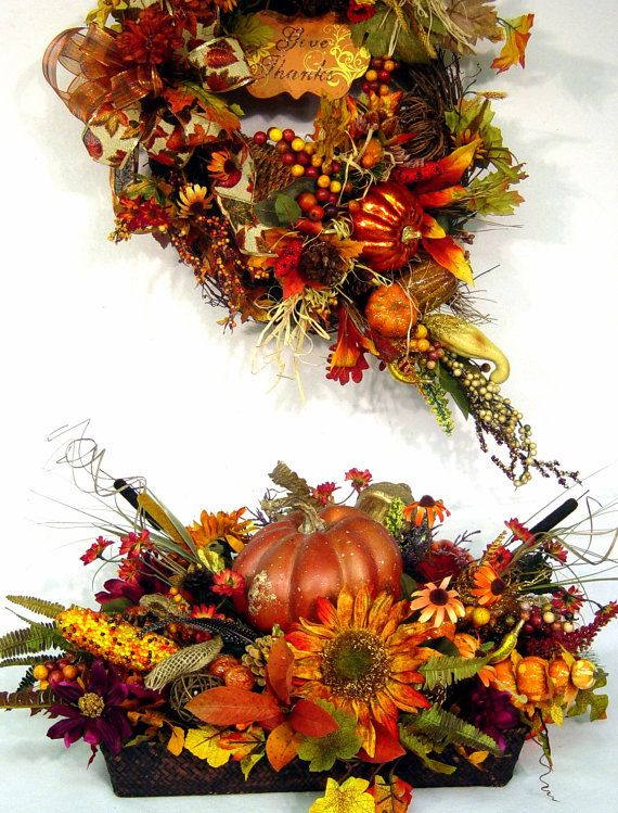 Bountiful harvest fall centerpiece thanksgiving floral