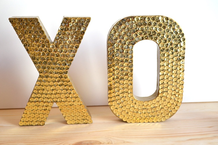 Mini Sequin XO Letters For Wedding or Decor #wedding #decor #decoration #gold #sequins #glam