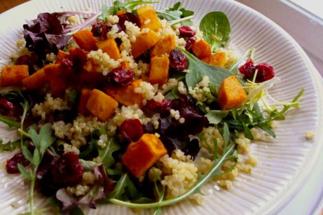 Quinoa & Arugula Salad with Roasted Sweet Potatoes & Dried Cherries