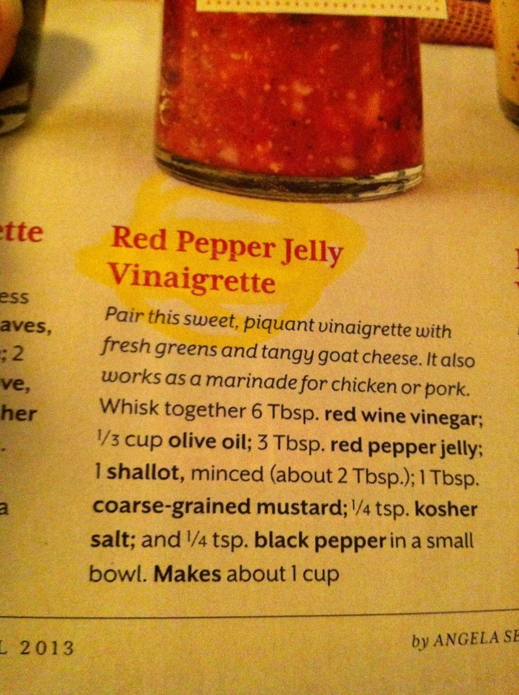 ... jelly champagne jelly red pepper jelly vinaigrette recipe myrecipes