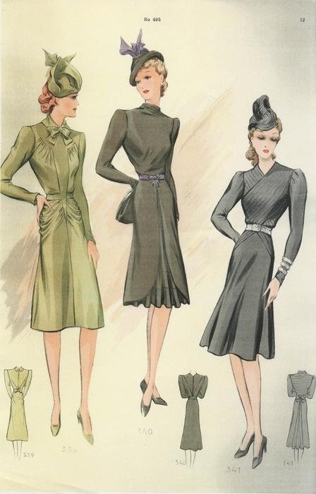 1940s fashion illustration  High Fashion  Pinterest
