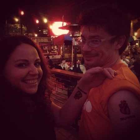 """Fun """"heart on your sleeve"""" You and Who temporary tattoos at #SXSW #promotionalideas #temporarytattoos"""