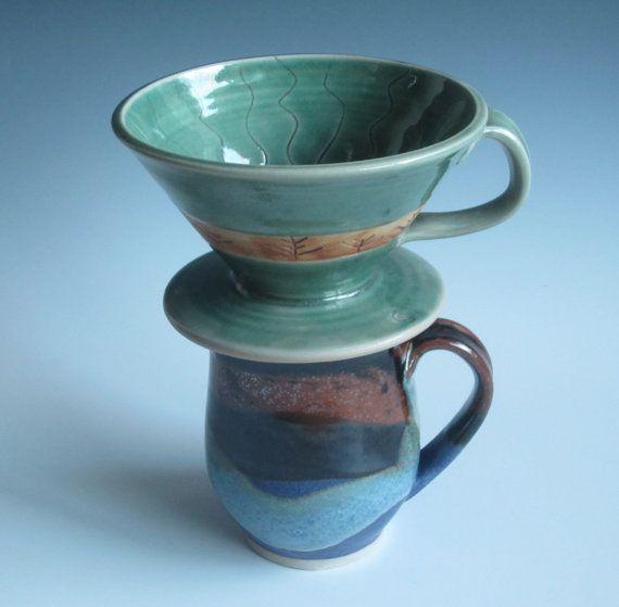 Drip coffee maker / handmade / pottery / green / coffee cone / single?