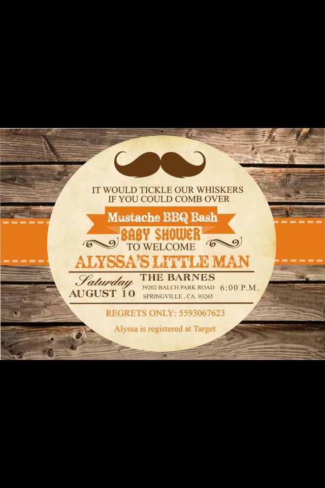 Baby shower invitation found on etsy little man mustache bash for