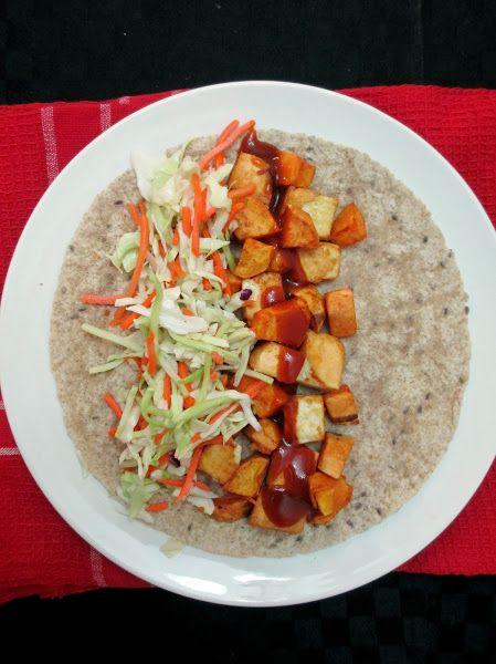 Easy BBQ Tofu & Sweet Potato Wraps | Food | Pinterest
