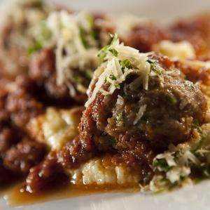 Cheese-Stuffed Meatballs w/Creamy Polenta, Tomato Sauce and ...