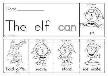 books (color black printable and  christmas Flip Word Sight sight and Christmas word Books   white
