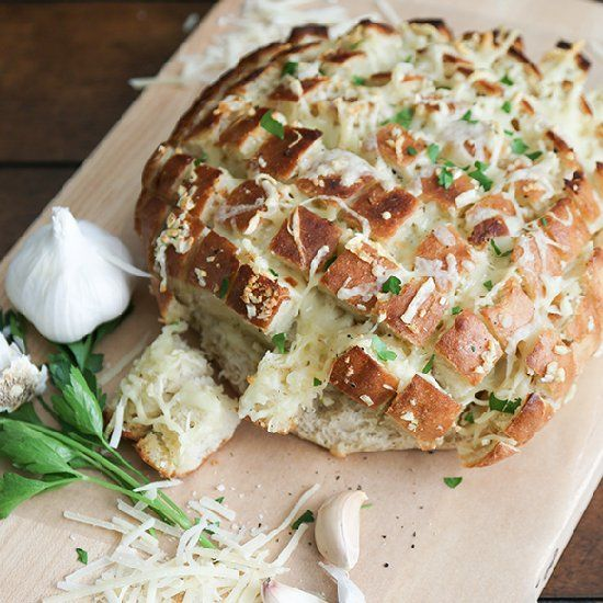 Cheesy, Green-Garlic Pull-Apart Bread Recipe — Dishmaps