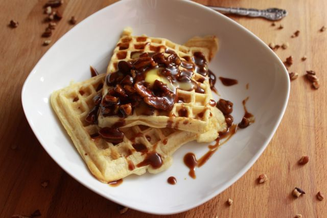 Classic Waffles with Caramel Pecan Sauce | Food - Breakfast | Pintere ...
