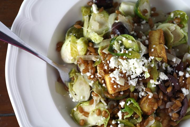 Warm Wheatberry, Brussels Sprout Salad with Feta and Crispy Tofu ...