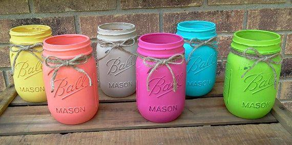 Distressed Mason Jar, Painted Mason Jar, Rustic Wedding Decor, Table Centerpieces, Rustic Mason Jar