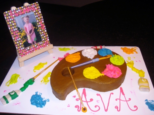 Artist Palette Cake Ideas : Painters Palette themed party cake. Birthday Cakes ...