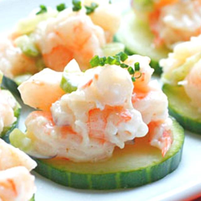 Shrimp salad on cucumber | FOOD | Pinterest