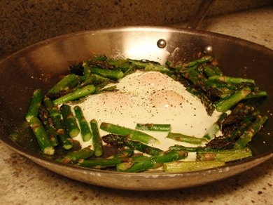 Roasted asparagus with fried eggs instead of hollandaise.