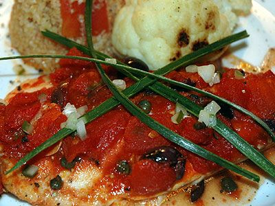 Baked Tilapia with Tomatoes, Olives, and Capers