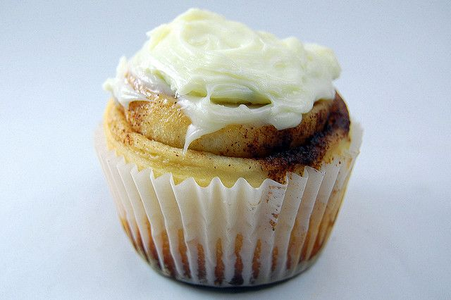 cinnamon roll cupcakes = yum and easier to transport!