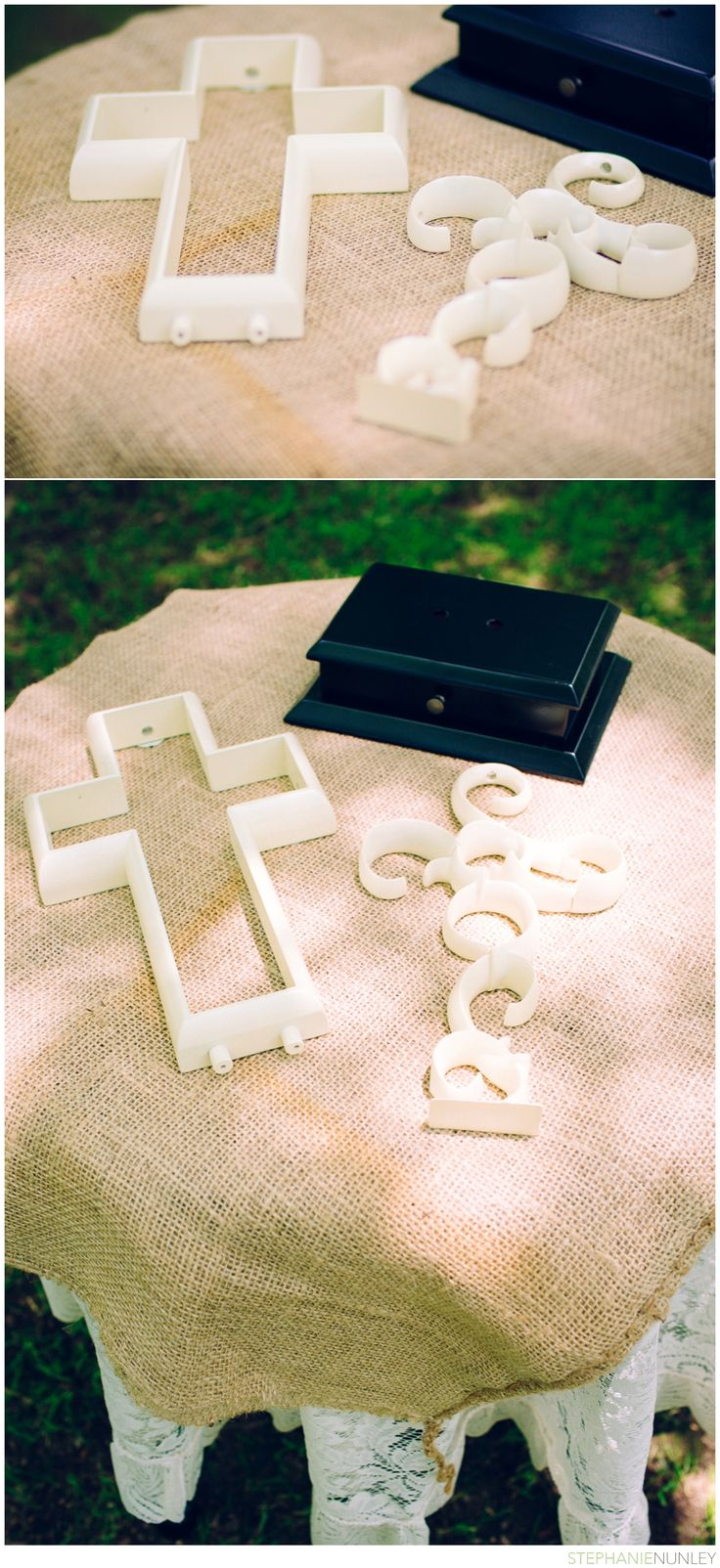 Unity cross at Christian wedding ceremony. instead of the candle? i kinda like this a lot...