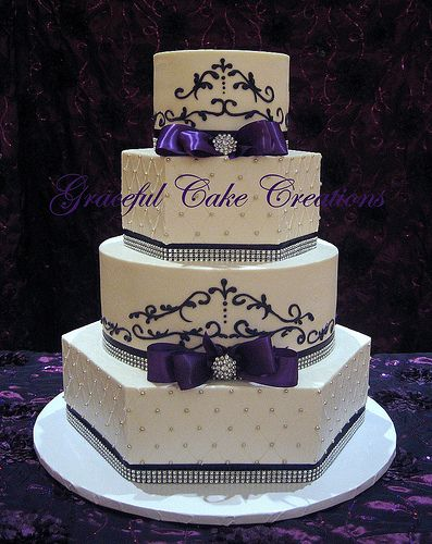 Elegant White and Purple Wedding Cake. Thinking this would be really nice in blue as well