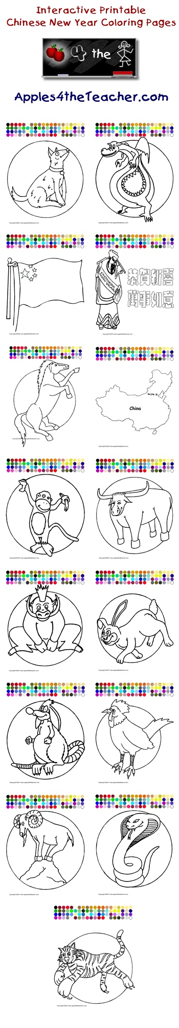 Chinese New Year Coloring Pages Animals Of The