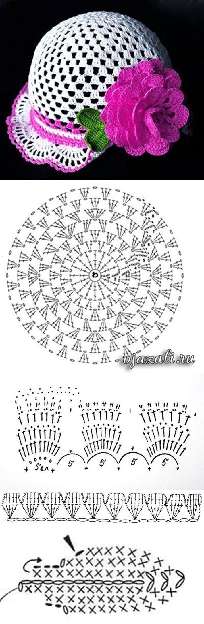 Схема панамки крючком для девочки фото