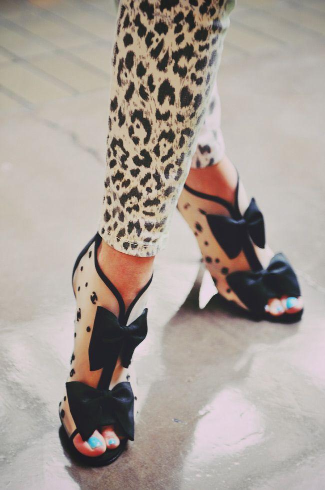 chanel bow booties + animal print mini pants. fun