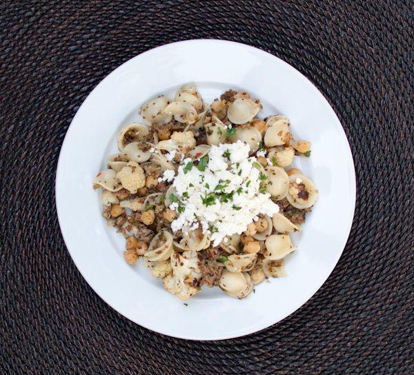 pasta with roasted cauliflower, sausage, chickpeas & fresh ricotta ...