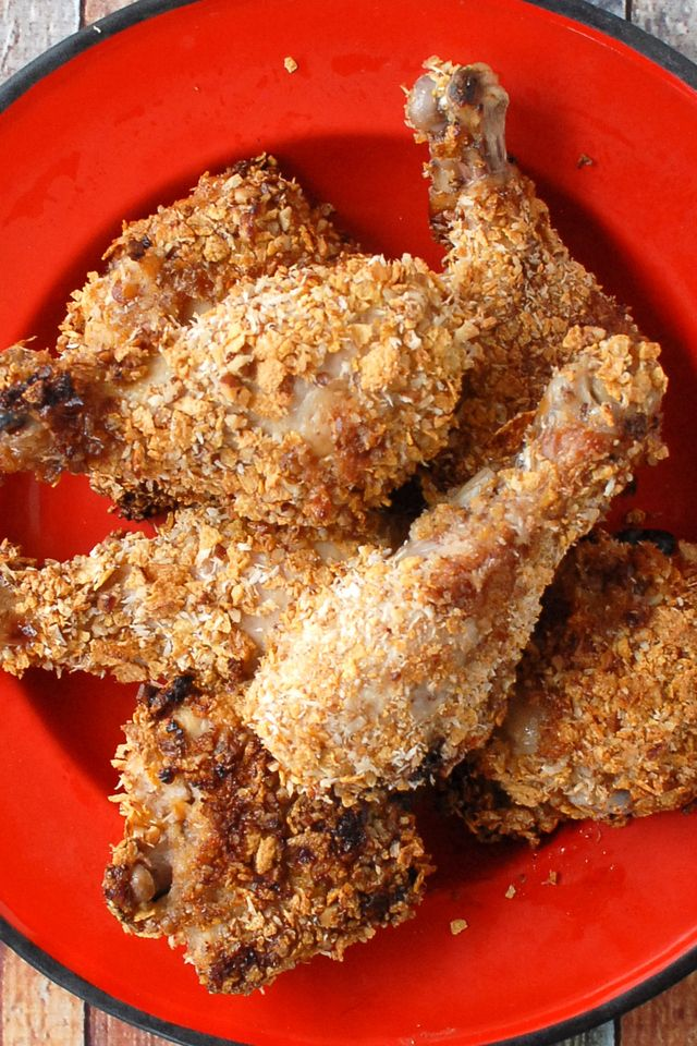Cornflake Coconut Pecan Crusted Baked Chicken
