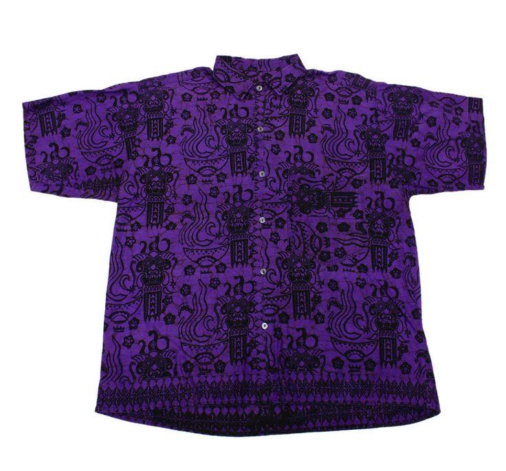 Vintage 90s Purple Hawaiian Button Up Shirt Mens Size ...