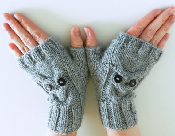 PDF KNITTING PATTERN // Owl Cable Knit Fingerless Mittens // Instant