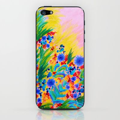 NATURAL ROMANCE in PINK - October Floral Garden Sweet Feminine Colorful Rainbow Flowers Painting iPhone & iPod Skin by EbiEmporium - $15.00