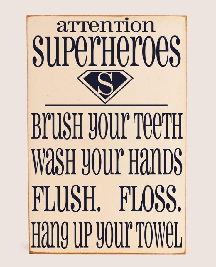 Super Hero Bathroom Rules Subway Art Typography Word Art Handpainted .