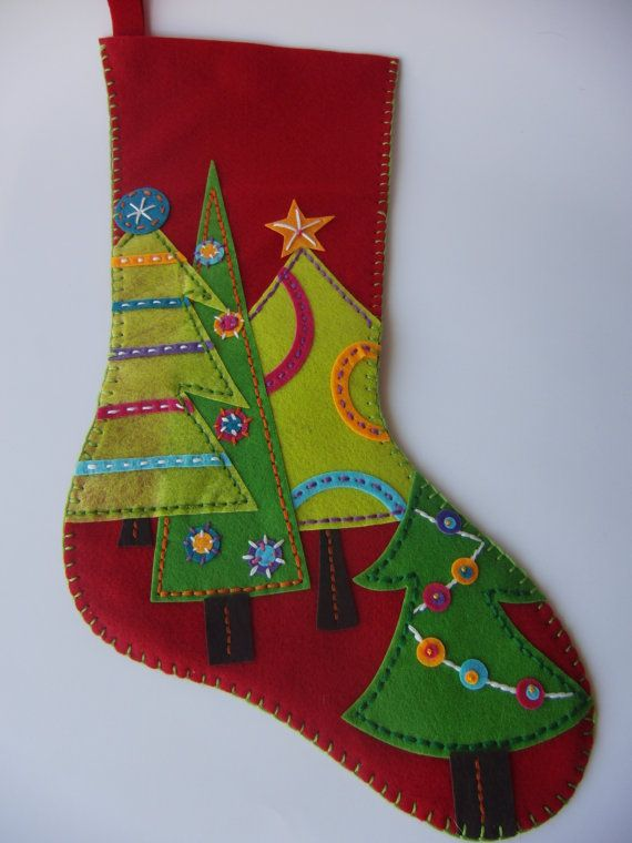 Modern Geometric Forest Christmas Holiday Stocking