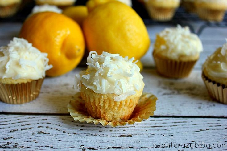 Mini Coconut Cupcakes with Lemon Cream Cheese Frosting. It's like ...