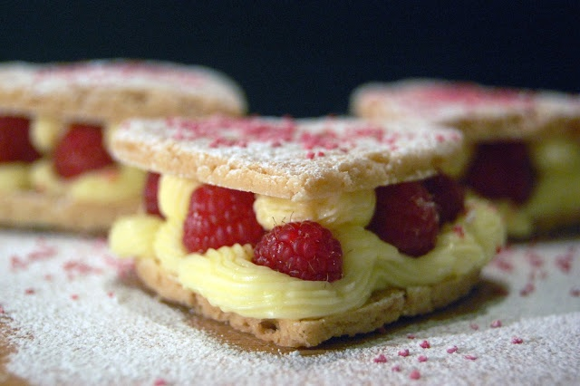 Valentine's shortbread hearts withe creme patisserie and raspberries ...