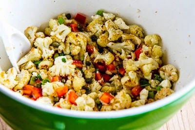 Roasted Cauliflower Salad with Feta, Capers, Red Bell Pepper, and Gre ...