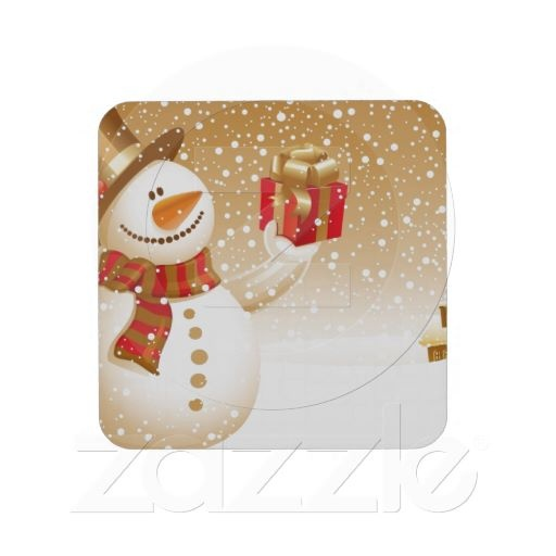 snowman drink coaster