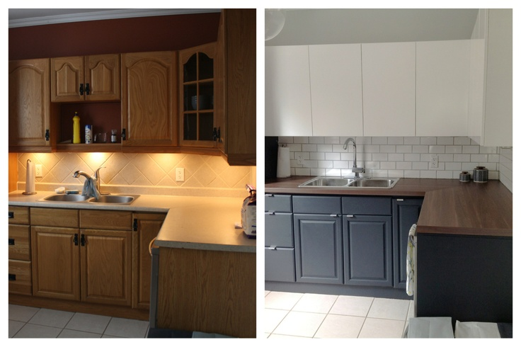 Kitchen before and after IKEA Appalad upper cabinets, Owl Grey