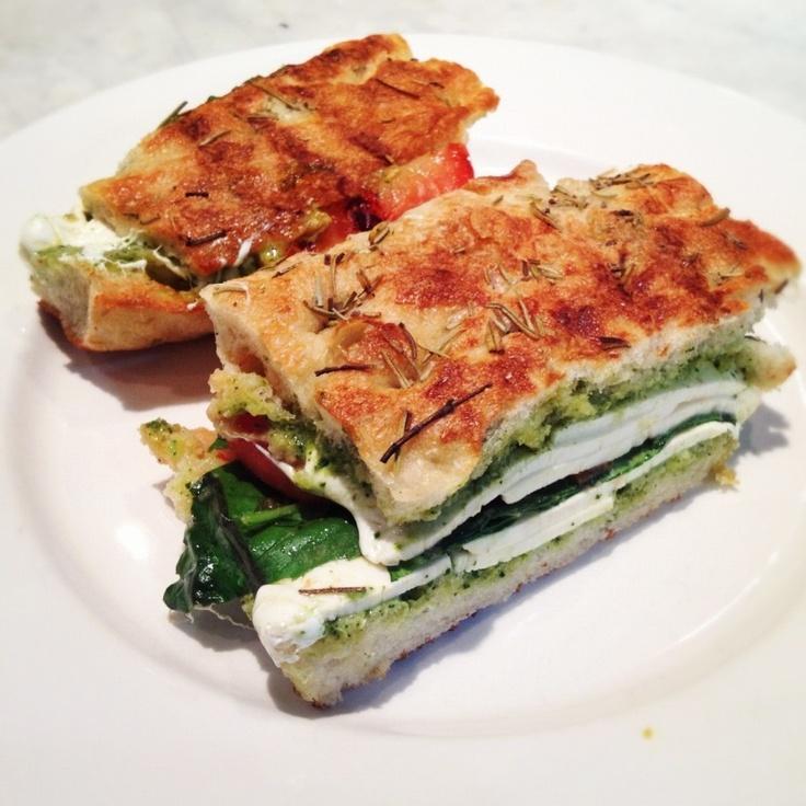 foccacia panini with mozzarella, roasted tomatoes, basil, and pesto ...