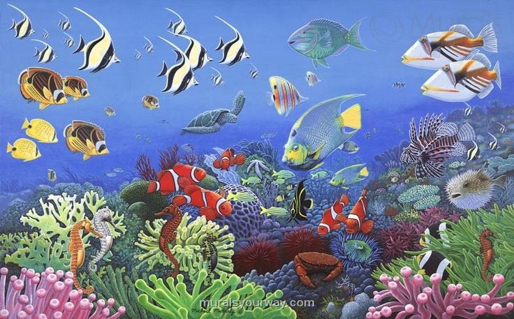 Ocean mural under sea nursery pinterest for Mural under the sea